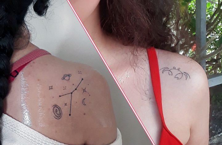 Duas fotos de uma mesma pessoa, de pele clara e cabelos escuras. Na primeira ela está de costas, com uma tatuagem de constelação de Câncer no ombro direito, e na segunda de frente, com uma tatuagem de caranguejo no ombro esquerdo.